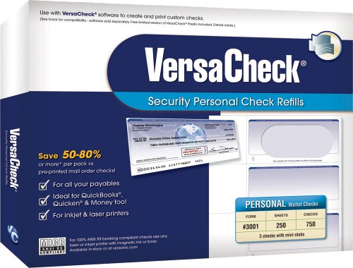 Versa Check Personal Security Check Refills Form 3001 Wallet Green 750 checks